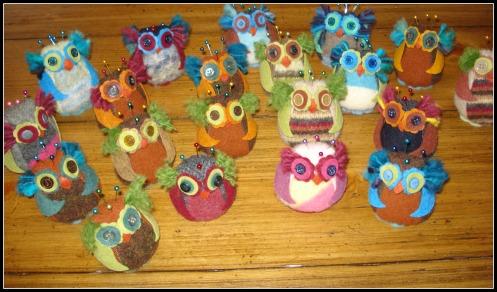 craftfair owlet pincushions